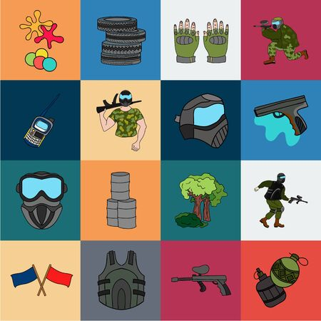 Paintball, team game cartoon icons in set collection for design. Equipment and outfit bitmap symbol stock web illustration. 版權商用圖片