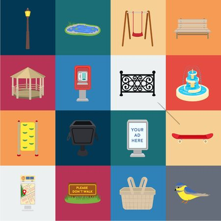 Park, equipment cartoon icons in set collection for design. Walking and rest bitmap symbol stock web illustration.
