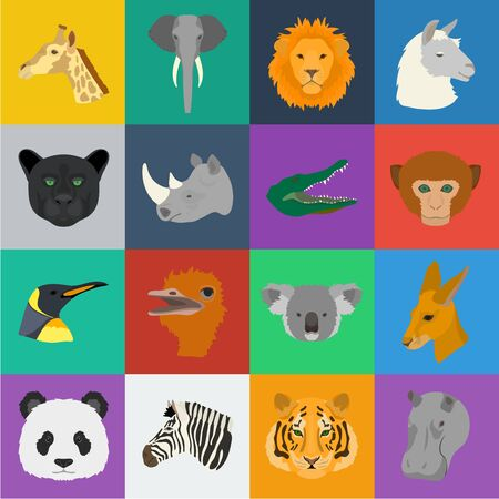 Wild animal cartoon icons in set collection for design. Mammal and bird bitmap symbol stock web illustration. Stok Fotoğraf