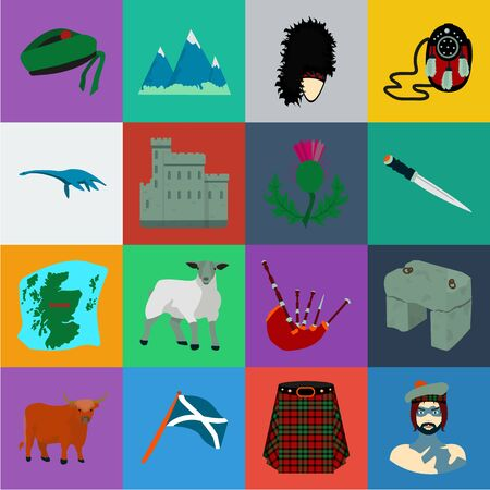 Country Scotland cartoon icons in set collection for design. Sightseeing, culture and tradition bitmap symbol stock web illustration. Stock fotó
