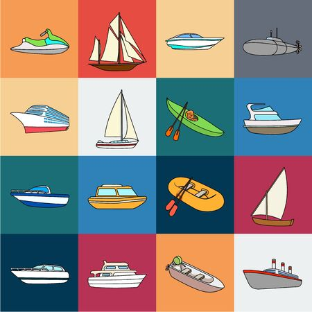 Water and sea transport cartoon icons in set collection for design. A variety of boats and ships bitmap symbol stock web illustration. Imagens