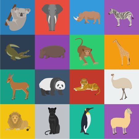 Different animals cartoon icons in set collection for design. Bird, predator and herbivore bitmap symbol stock web illustration.
