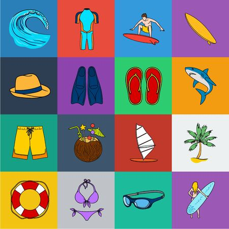 Surfing and extreme cartoon icons in set collection for design. Surfer and accessories bitmap symbol stock web illustration.