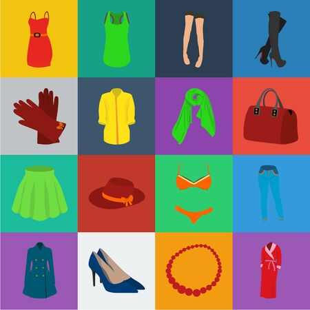 Womens Clothing cartoon icons in set collection for design.Clothing Varieties and Accessories bitmap symbol stock web illustration. Stock Photo