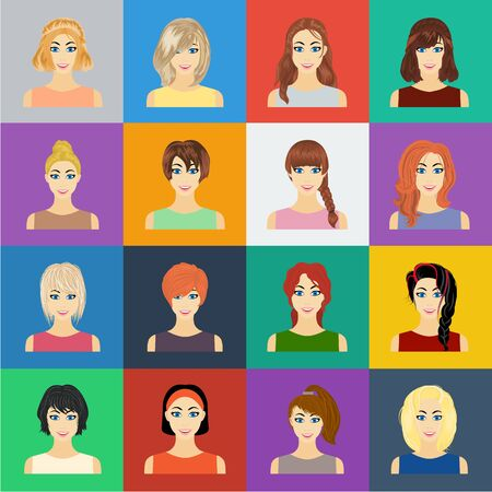 Types of female hairstyles cartoon icons in set collection for design. Appearance of a woman bitmap symbol stock web illustration.