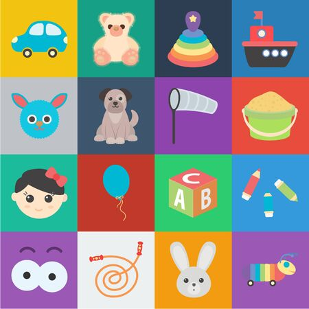 Childrens toy cartoon icons in set collection for design. Game and bauble bitmap symbol stock web illustration.