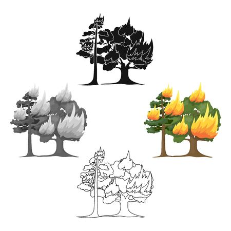Forest fire bitmap icon in cartoon style for web Stock Photo - 127716165