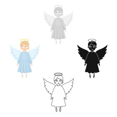 Soul icon in cartoon style isolated on white background. Funeral ceremony symbol stock bitmap illustration.