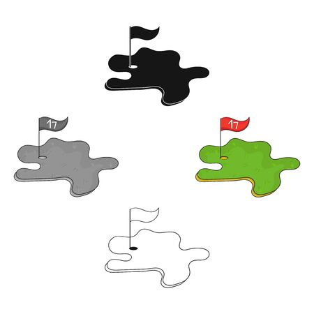Golf course icon in cartoon style isolated on white background. Golf club symbol stock bitmap illustration. 版權商用圖片