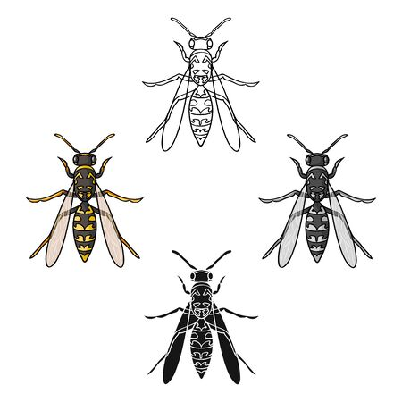 Wasp icon in cartoon style isolated on white background. Insects symbol stock bitmap illustration.