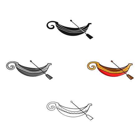 Italian gondola icon in cartoon style isolated on white background. Italy country symbol stock bitmap illustration.