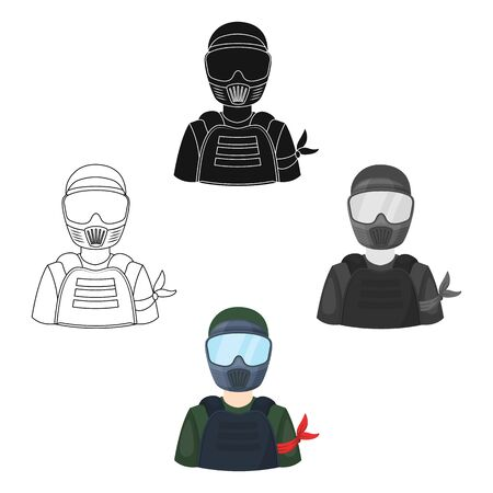 A player in paintball.Paintball single icon in cartoon style bitmap symbol stock illustration web.