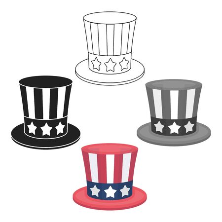 Uncle Sams hat icon in cartoon style isolated on white background. Patriot day symbol stock bitmap illustration.