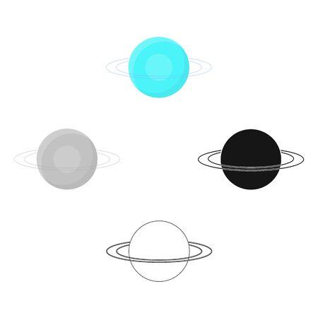 Uranus icon in cartoon style isolated on white background. Planets symbol stock bitmap illustration.
