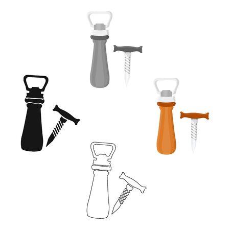Corkscrew and bottle-opener icon in cartoon style isolated on white background. Pub symbol stock bitmap illustration.