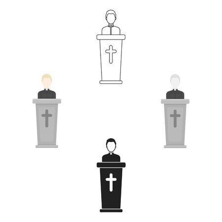 Priest icon in cartoon style isolated on white background. Religion symbol stock bitmap illustration.