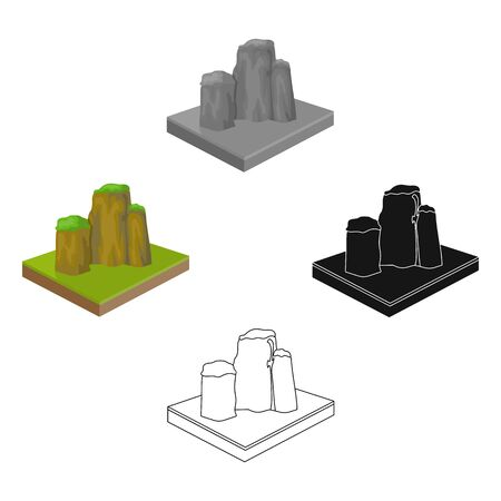 Mountains, rocks and landscape. Relief and mountains single icon in cartoon style isometric bitmap symbol stock illustration web. Фото со стока