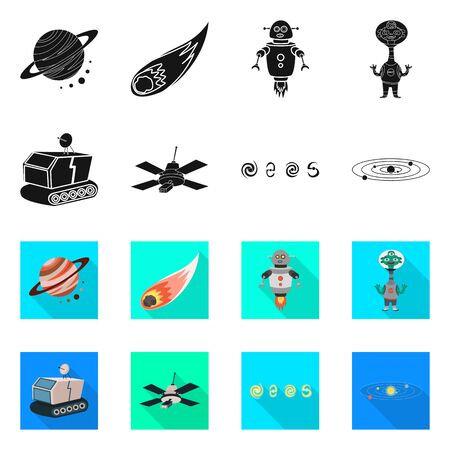 Isolated object of astronomy and technology sign. Set of astronomy and sky stock symbol for web. Illustration