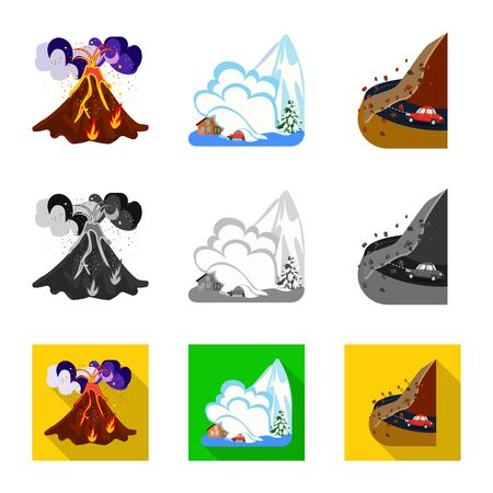 Isolated object of weather and distress sign. Collection of weather and crash vector icon for stock. Illustration