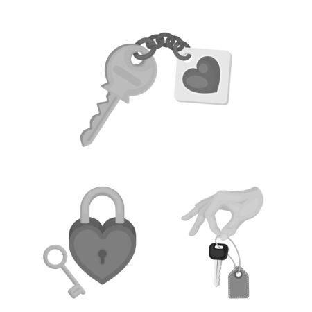 Isolated object of key and protection icon. Set of key and security bitmap icon for stock. Banque d'images