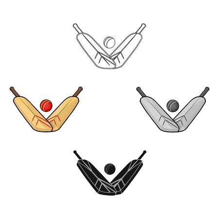Crossed cricket bats with ball icon in cartoon style isolated on white background. Australia symbol stock bitmap illustration.