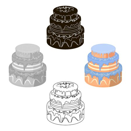 Blue three-ply cake icon in cartoon style isolated on white background. Cakes symbol stock bitmap illustration.