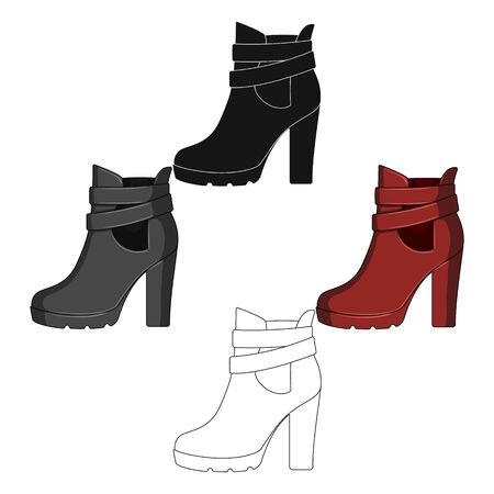 High women red shoes for everyday wear .Different shoes single icon in cartoon style bitmap symbol stock illustration. Imagens