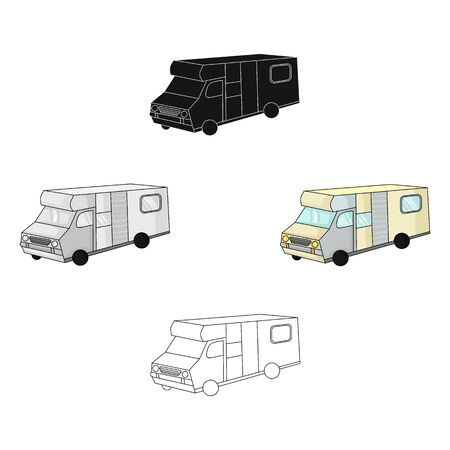 Campervan icon in cartoon style isolated on white background. Family holiday symbol stock bitmap illustration. Stock Photo