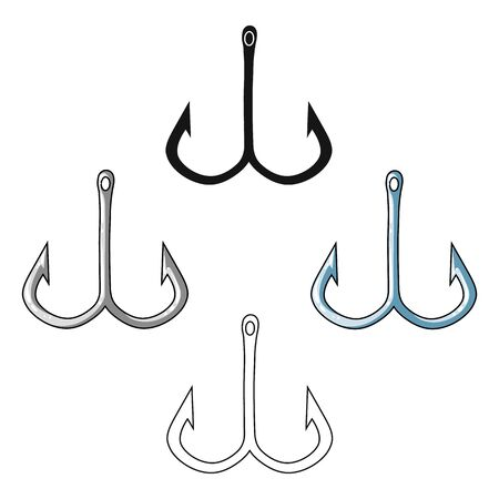 Fishing hook icon in cartoon style isolated on white background. Fishing symbol stock bitmap illustration.