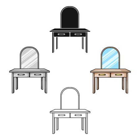 Dressing table icon in cartoon style isolated on white background. Furniture and home interior symbol stock bitmap illustration.