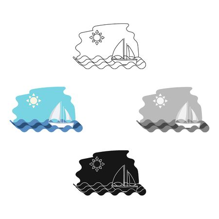 Sailing boat on the sea icon in cartoon style isolated on white background. Greece symbol stock bitmap illustration.