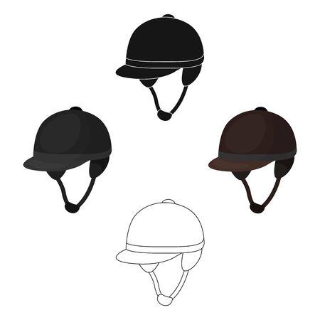 Jockeys helmet icon in cartoon style isolated on white background. Hippodrome and horse symbol stock bitmap illustration. Stock Photo