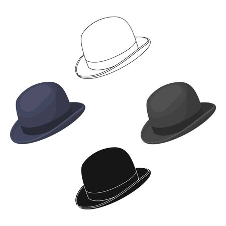 Bowler hat icon in cartoon style isolated on white background. Hipster style symbol stock bitmap illustration.