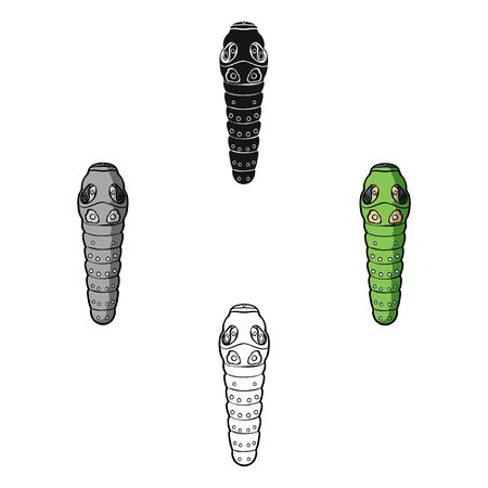 Caterpillar icon in cartoon style isolated on white background. Insects symbol stock bitmap illustration.
