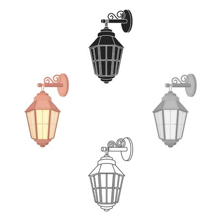 Street lantern icon in cartoon style isolated on white background. Light source symbol bitmap illustration Stockfoto