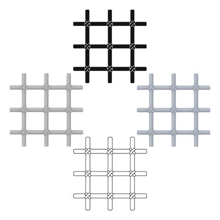 Lattice in the cell of the prisoner. A metal door to hold criminals.Prison single icon in cartoon style bitmap symbol stock web illustration. Standard-Bild - 127748923