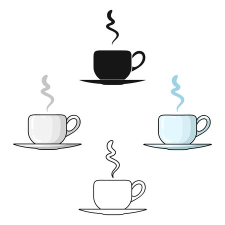 Coffee cup icon in cartoon style isolated on white background. Restaurant symbol bitmap illustration.