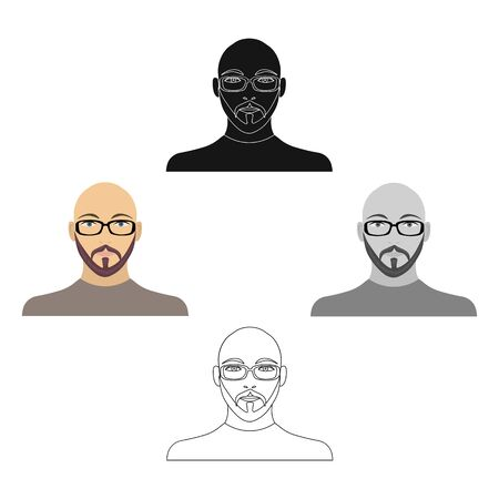 The face of a bald man with glasses, with a beard and mustache. The face of a man single icon in cartoon style bitmap symbol stock illustration .