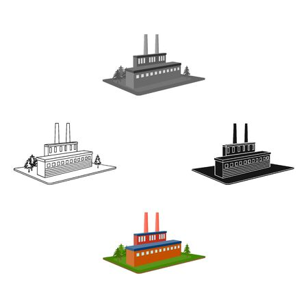 Processing factory. Factory and industry single icon in cartoon style isometric bitmap symbol stock illustration .