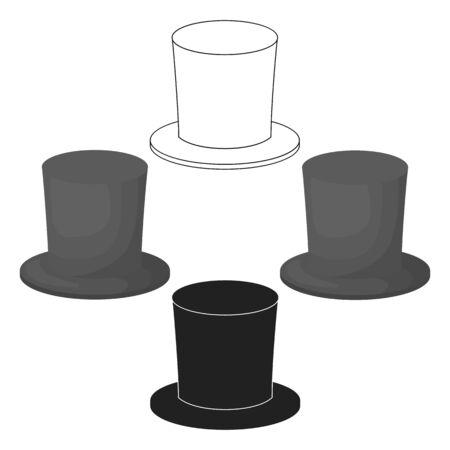 Zylinder icon in cartoon style isolated on white background. Theater symbol bitmap illustration