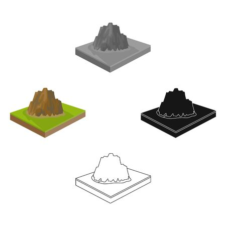 Mountains, rocks and landscape. Relief and mountains single icon in cartoon style isometric bitmap symbol stock illustration .