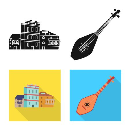 Isolated object of culture and sightseeing symbol. Collection of culture and originality vector icon for stock.  イラスト・ベクター素材