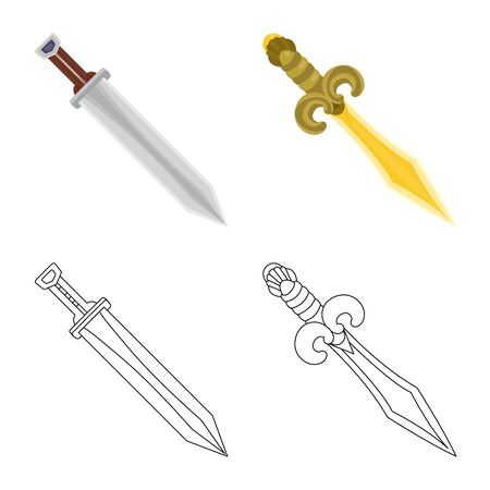 Isolated object of game and armor icon. Set of game and blade vector icon for stock.