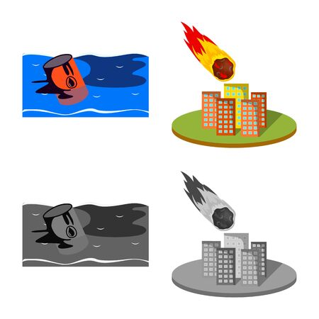 Vector design of weather and distress icon. Set of weather and crash stock vector illustration.