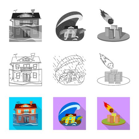 Vector illustration of weather and distress . Set of weather and crash stock vector illustration.