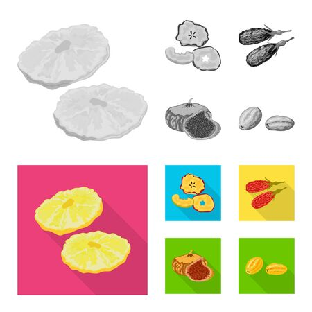 Vector illustration of food and raw sign. Set of food and nature stock vector illustration.