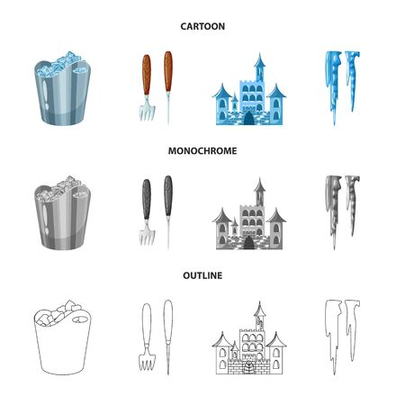 Isolated object of texture and frozen . Set of texture and transparent vector icon for stock.