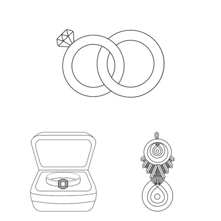 bitmap design of jewelery and necklace icon. Set of jewelery and pendent stock bitmap illustration. Standard-Bild - 128969338