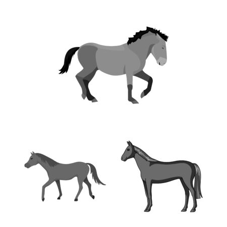bitmap illustration of trot and running symbol. Set of trot and clipart stock symbol for web.