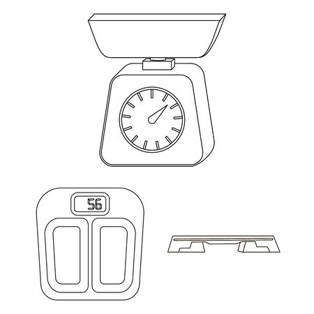 bitmap illustration of weight and lab symbol. Collection of weight and kitchen bitmap icon for stock. Stock Photo